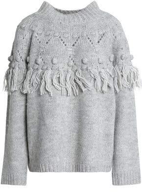 Rachel Zoe Pompom-Embellished Tasseled Wool-Blend Sweater