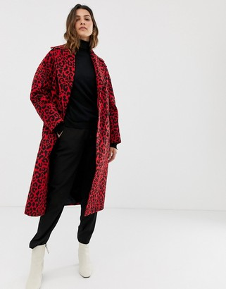 Helene Berman double breasted animal print coat-Red
