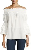 Max Studio Voile Off-The-Shoulder Blouse, Ivory