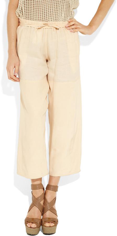 The Row Morgendorf cropped linen-blend wide-leg pants