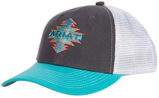 Ariat Aztec Logo Ball Cap (Grey/Turquoise) Caps