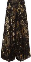 Alice + Olivia Shannon Pleated Metallic Printed Chiffon Maxi Skirt - Gold