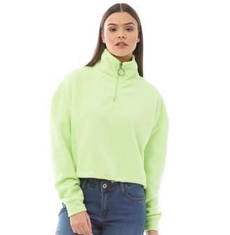 Brave Soul Womens Maryam Mid Zip Crop Fleece Sweatshirt Neon Lime