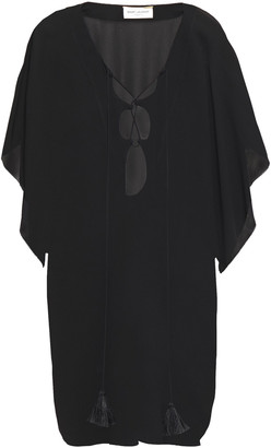 Saint Laurent Cutout Lace-up Crepe Kaftan