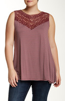 Bobeau Crochet Yoke Stripe Swing Tank (Plus)