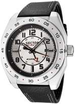 Sector Race Men's Watch Analogue Quartz GMT with Date Indicator, Black Leather Strap, Grey Steel Dial - R3251660015