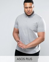 Asos PLUS Polo Shirt In Gray Marl