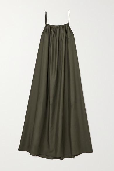 Matteau + Net Sustain Gathered Cotton-voile Maxi Dress - Dark green