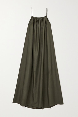 Matteau + Net Sustain Gathered Cotton-voile Maxi Dress - Dark green