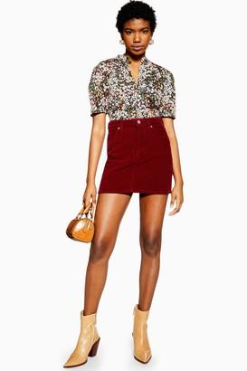 Topshop Womens Burgundy Corduroy Mini Skirt - Burgundy