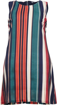 Evans **Izabel Curve Red Striped Sleeveless Shift Dress