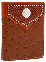 Nocona M&F Western Tooled Basket and Concho w/ Ostrich Bi-Fold Wallet Bi-fold Wallet