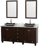 WYNDHAM COLLECTION Acclaim 72 inch Double Bathroom Vanity with WhiteCarrera Marble Countertop and Altair Black GraniteSinks