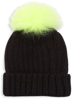 Adrienne Landau Dyed Fox Fur Pom Pom Ribbed Beanie