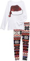 Beary Basics White Santa Hat Tee & Fair Isle Leggings - Toddler & Girls