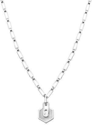 Missoma Limited Silver Textured Padlock Chain Necklace