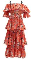 Self-Portrait Self Portrait Botanical-print Tiered Midi Dress - Womens - Red Multi