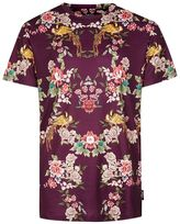 Jaded London Burgundy Floral Bird Print T-Shirt*