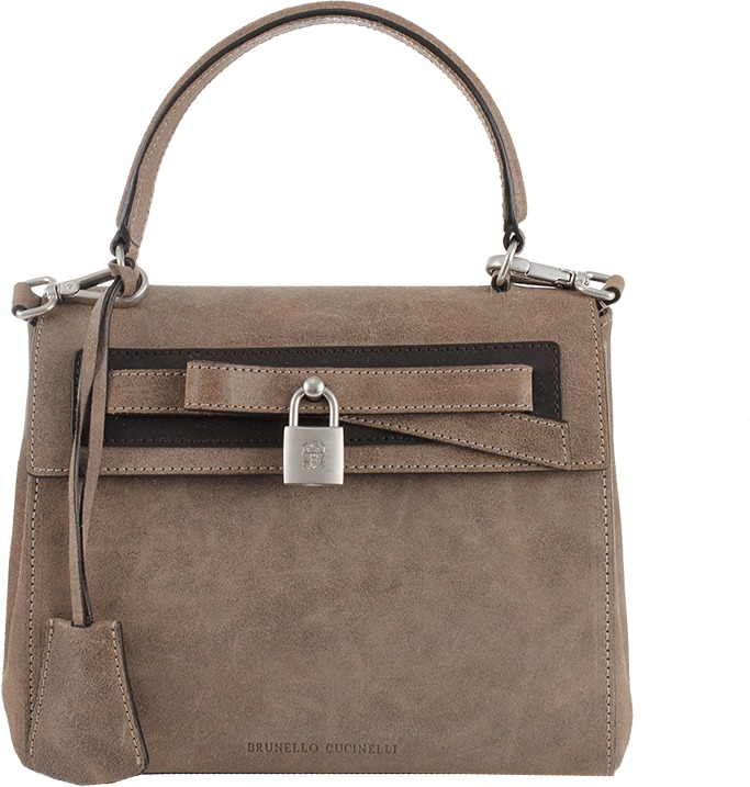 Brunello Cucinelli Leather Mini Satchel with Padlock