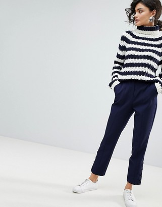 Asos Design Cigarette Pants with Button Ankle Detail-Navy