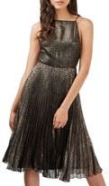Topshop Women's Animal Print Pleated Midi Dress