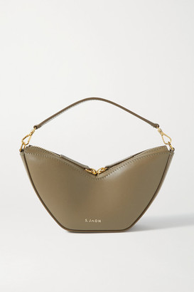 S.JOON Tulip Leather Shoulder Bag - Army green