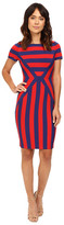NUE by Shani Color Blocking Strip Knit Dress