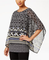 JM Collection Printed Banded-Bottom Poncho, Only at Macy's