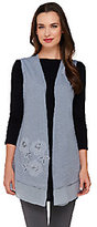 As Is LOGO by Lori Goldstein Slub Knit Vest with Embroidery and Chiffon Hem