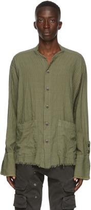 Greg Lauren Green Striped Army Shirt