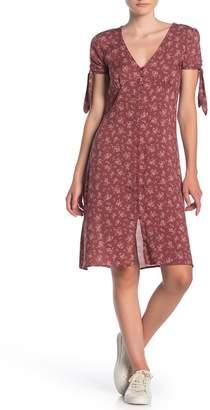 Dress Forum Floral Tie Sleeve Button Front Dress