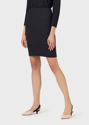Emporio Armani Midi Pencil Skirt In 3D Jacquard