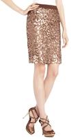 BCBGMAXAZRIA Dorshea Cheetah Sequin Pencil Skirt