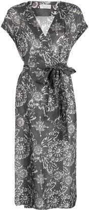 Brunello Cucinelli silk waist-tied midi dress