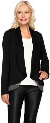Logo By Lori Goldstein LOGO Lounge by Lori Goldstein French Terry Peplum Cardigan w/ Chiffon Trim