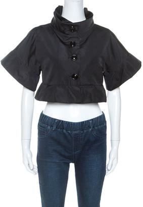 Dolce & Gabbana Black Taffeta Button Front Shrug M
