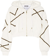 Moschino Cropped embellished cotton-jersey hooded top