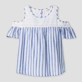 Cat & Jack Girls' Cold Shoulder Top Cat & Jack - Blue Stripe