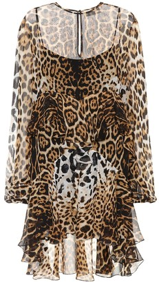 Saint Laurent Leopard-print silk minidress