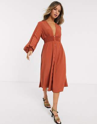 Asos Design DESIGN long sleeve button through midi dress with shirred waist