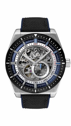 HUGO BOSS Mens Skeleton Automatic Watch with Leather Strap 1513643