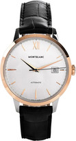 Montblanc 111624 meisterstück heritage stainless and leather watch
