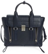 3.1 Phillip Lim 'Medium Pashli' Shark Embossed Leather Satchel - Black