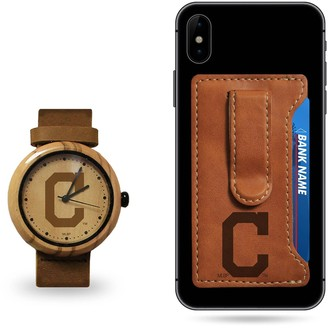 Sparo Cleveland Indians Wood Watch and Phone Wallet Gift Set