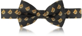 Moschino Black Multi Teddy Bear Print Twill Silk Pre Tied Bow Tie