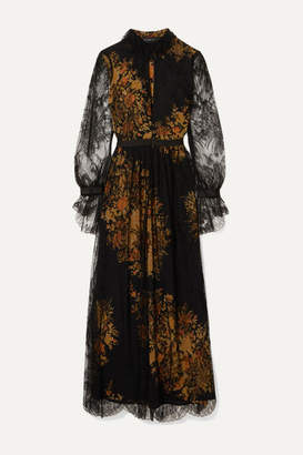 Etro Floral-print Lace And Crepe Maxi Dress - Black