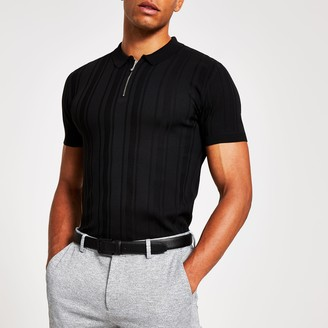 River Island Mens Black muscle fit zip neck knitted polo shirt
