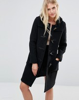 Gloverall Long Slim Duffle Coat in Charcoal