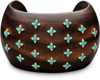 Paul Morelli Sprinkled Turquoise & Diamond Ebony Cuff Bracelet