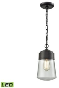 Elk Lighting Mullen Gate 1 Light Outdoor Pendant in Oil Rubbed Bronze with Clear Glass